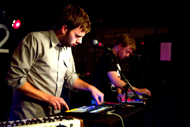 EDM DJs Mount Kimbie using a midi-pads and drum machines at a live concert. Picture by Kieran Frost